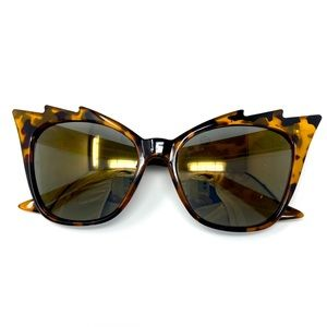 Cat Eye Reflective Sunglasses Trendy Gold Brown